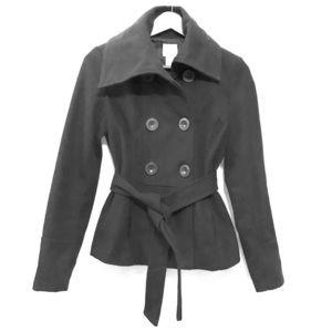 High Collar Charcoal Gray Pea Coat!